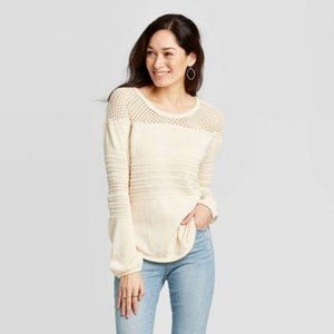WOMEN'S SCOOP NECK PULLOVER SWEATER OATMEAL M